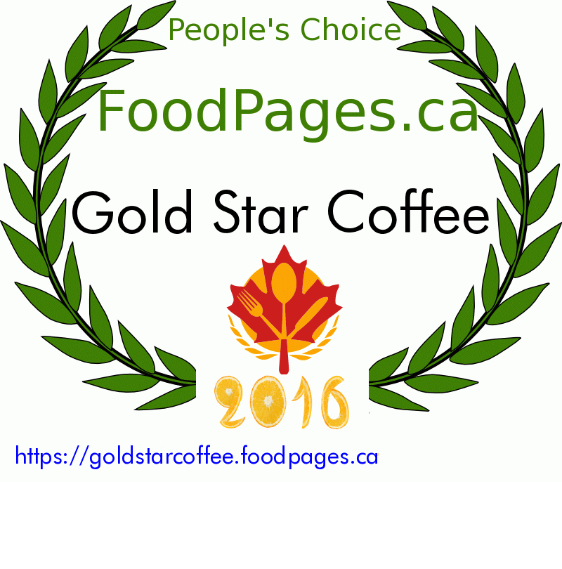 Gold Star Coffee FoodPages.ca 2016 Award Winner