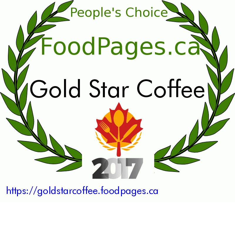 Gold Star Coffee FoodPages.ca 2017 Award Winner